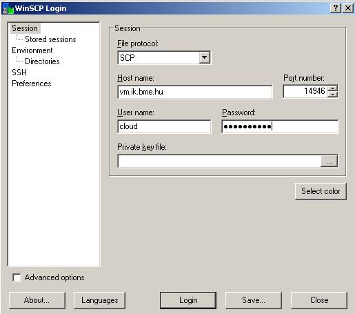 WinSCP login